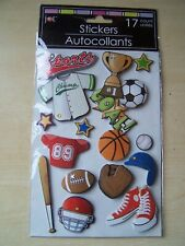 NEW - JOT -  DIMENSIONAL STICKERS - SPORTS -17 PIECES