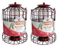 2 X Vogel Nuss Futterstation Eichhörnchen Schutz Draht Käfig Metall Laterne Feed