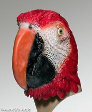 Parrot Mask Adult Red Full Over The Head Latex Bird Mask One Size