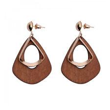 Fashion Women's Earrings Statement Vintage Wood Metal Ear Stud Earrings Jewelry