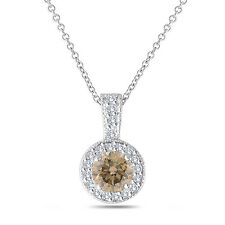 Platinum Fancy Brown Champagne Diamond Pendant Necklace 1.23 Carat Halo Pave