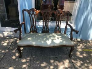 Antique Loveseat , Sofa Chippendale style Mahogany Settee with Grey/Blu Fabric