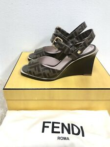 NIB Fendi FF Logo Motif Wedge Sandal Gucci Espadrille Chanel Louboutin Heel 38.5
