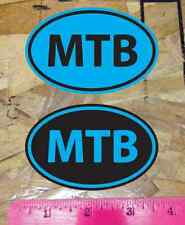 MTB Mountain Bike sticker decal Black & Cyan Blue - 2 for 1