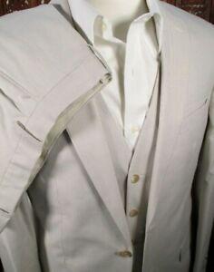 Jos A Bank Men Size 40L x 34W Suit Vest Tan Micro Stripe Tropical Blend $498 NWT