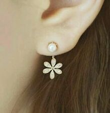 #1023 Korean Silver Plated Small Pearl with Diamond Five Leaves Flowers Earring