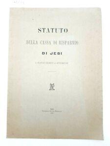 Statuto della Cassa di Risparmio di Jesi e relativo decreto di approvazione 1892