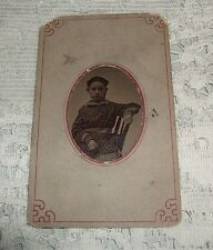Antique Tin Type Photo of Young Teen Girl in print dress