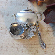 Tea Brooch Matte Silver Ox Pot Kettle Cup Spoon New
