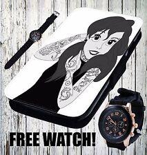 Cute Ariel Disney Princess Tattoo Fashion - Flip Wallet Leather Phone Case Cover
