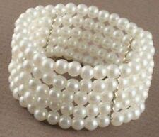 ♥ Damen Perlen Armband creme-weiss Armreifen Hochzeit Schmuck Brautschmuck ivory