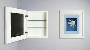 recessed medicine cabinet w/ picture frame door, no mirror, white interior 14x18
