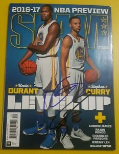 Kevin Durant and Stephen Curry Golden State Warriors autographed slam magazine