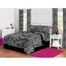 Queen Bedding Set Comforter & Sheets Zebra Print Teens Bed In a Bag Reversible