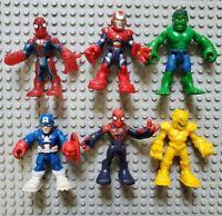 Playskool Marvel Super Heroes Figures (6) Ironman Spiderman Hulk Captain America