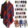 Women's Girls Plaid Blanket Long Shawl Fashion Grid Winter Warm Wrap Stole Scarf