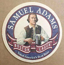SAMUEL ADAMS BOSTON LAGER Beer COASTER, Mat with MAN, MASSACHUSETTS