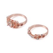 18 kt Women 1Pair Ring/Set Rose Gold Filled White Topaz Wedding Engagement sz 9*