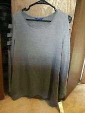 APT 9 Womens Top L SEXY Shirt Cut Out Long Sleeves Stretch Blue Heather Casual