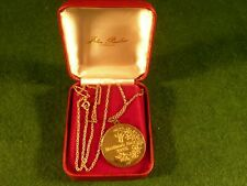 John Pinches Gilt Silver Mothers Day Pendant Medallion 1975 , Cased