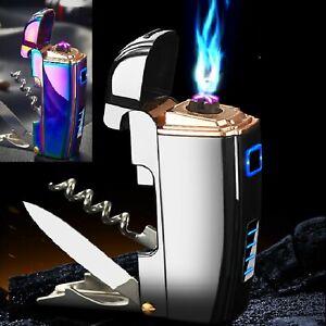 Multifunctional rechargeable USB lighter , wine ,bottle opener& knife, 2 x arc