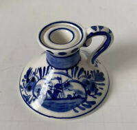 Holland Tiny Delft Candlestick/Candle Holder Blue & White Hand Painted