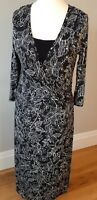 Per Una Size 16 L Jersey Dress Maxi Black And White Flower Pattern NWT