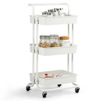 3 Tier Rolling Cart with Wheels Practical Handle & ABS Basket Organizer White