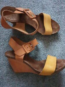 Bertie Leather Sandals Wedges
