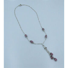 PETITE .925 Sterling Silver Natural Faceted Rhodonite Beaded Chain Necklace