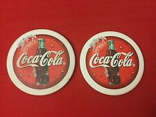 Set of 2 Coca-Cola Bottle Round Ceramic Drink Coasters Collectible