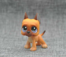 Cute Littlest Pet Shop GREAT DANE Dog #244 Caramel Brown Purple Eyes