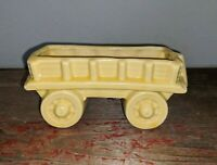 Vintage McCoy? Pottery USA Unmarked Yellow Small Wagon Planter 2.75 x 6