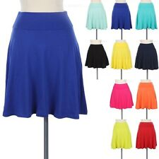 Foldover Waistband Solid Skater Skirt A Line Flared Cute Cotton Spandex S M L