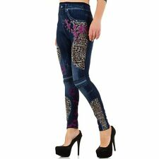 SS-BF67102-blue Jeggings Leggings Stampa Jeans Denim Blu Con Inserti a Fantasia