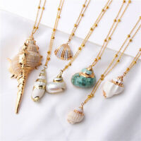 Boho Women Sea Shell Conch Necklace Pendant Chain Choker Beach Jewelry Decor New