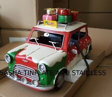 AUSTIN MINI COOPER MERRY CHRISTMAS tin tinplate car blechmodell auto handmade