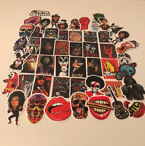 50 STICKERS MUSIC ROCK GUITAR METAL BOWIE AC/DC KISS HENDIX QUEEN STONES FUNNY