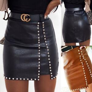 UK Women Black PVC Wet Leather Look Mini Pencil Tube Bodycon Skirt Ladies Dress
