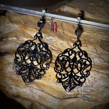 Earrings Clips on Unpierced Black Dangle Filigree Chandelier Floral Retro E2