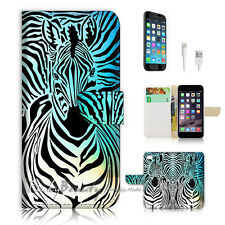 ( For iPhone 6 / 6S ) Wallet Case Cover! Zebra Wave P0493