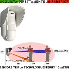 Rilevatore Antifurto Tripla Tecnologia Esterno Allarme Discrimina Animali 20 Kg.