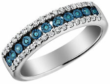 Blue and White Diamond Ring 1/4 Carat (ctw) in Sterling Silver