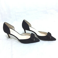 """JOHN LEWIS BLACK SUEDE LEATHER SHOES WITH GOLD TRIM, SIZE UK6 /EUR39, 2.5"""" HEEL"""