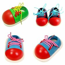 1pcs Wooden Lacing Shoe Toy Toddler Kids Baby Early Montessori Educational Toy