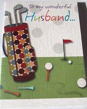 To My Wonderful Husband Birthday Card BonBon Range Golf Theme