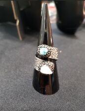 Handmade Druzy Blue Silver Adjustable Ring UK Seller Christmas Gift