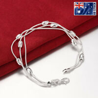 925 Sterling Silver Filled Lovely Oval Beads Ball Charm Bracelet Chain Gift