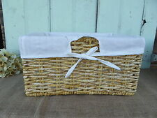 Large SEAGRASS LIGHT CORN LINED SHELF BASKET with White Lining ~  Storage NEW