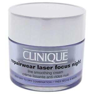 Clinique Repairwear Laser Focus Night Line Smoothing Cream 1.7Oz/50ML NEW UNBOX